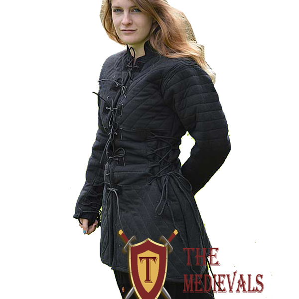 Gambeson theater costume Medieval Strips Coller Thick Padded cotton sca larp